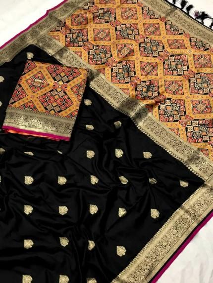 Patola weaving saree in black