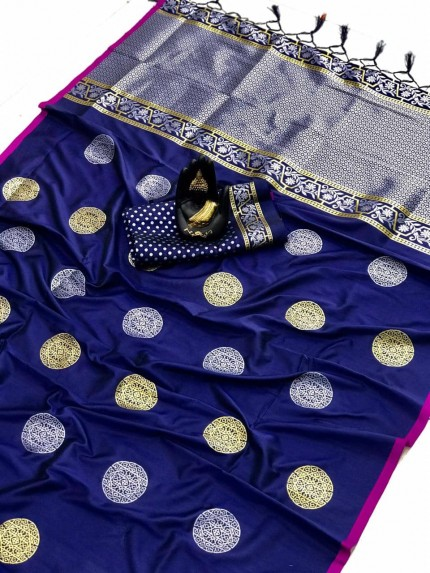 grabandpack Blue Woven saree