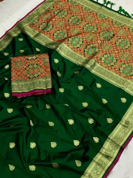 Fancy Green Patola weaving saree