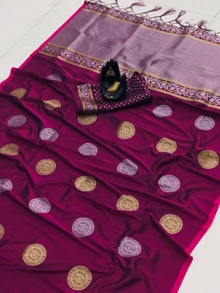 Magenta Soft Banarasi Silk saree