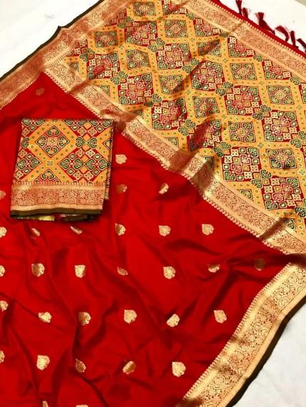 Fancy Red Patola weaving saree