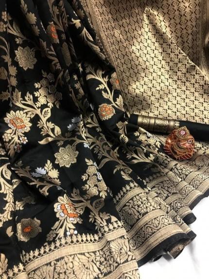 Fashionable Black Soft Banarasi Silk Saree
