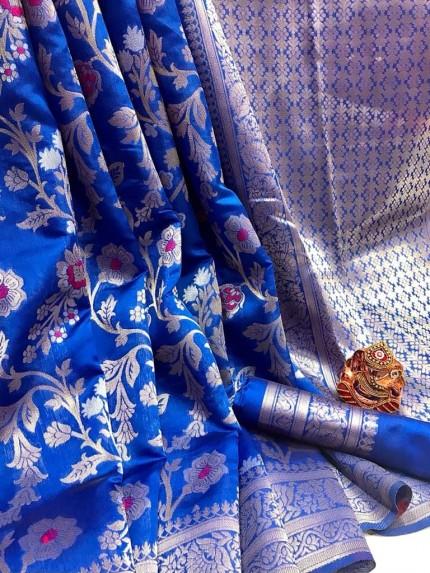 Fashionable Blue Soft Banarasi Silk Saree