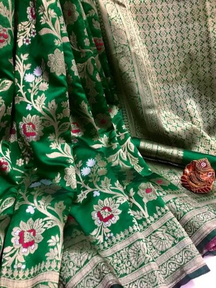 Fashionable Green Soft Banarasi Silk Saree