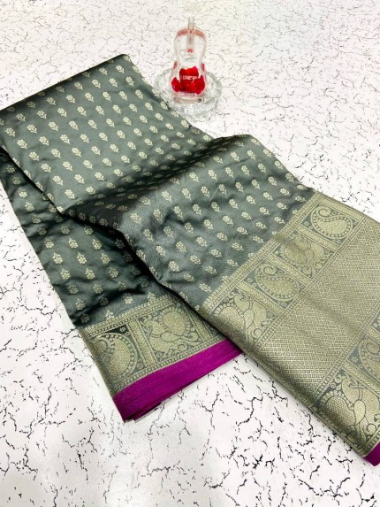 Fashionable grey banarasi silk saree