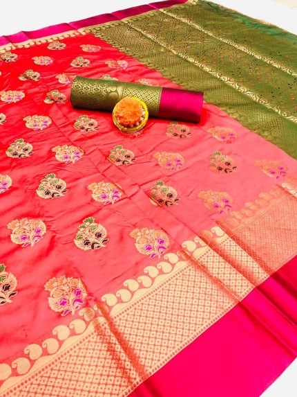 peach color silk saree with contrast blouse