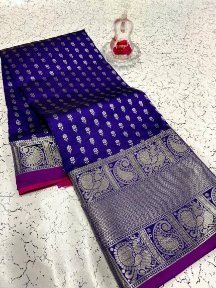Fashionable purple banarasi silk saree