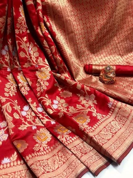 Fashionable Red Soft Banarasi Silk Saree