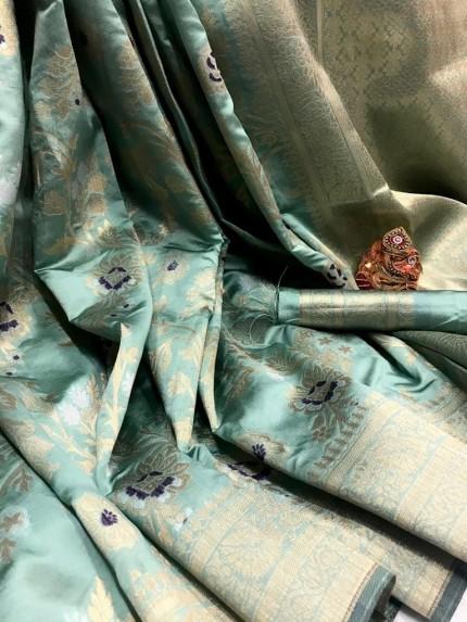 Fashionable Sky Blue Soft Banarasi Silk Saree