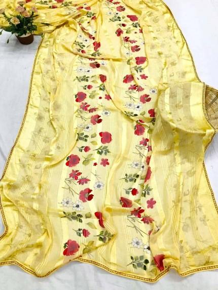 Grabandpack Floral Printed Yellow indian saree