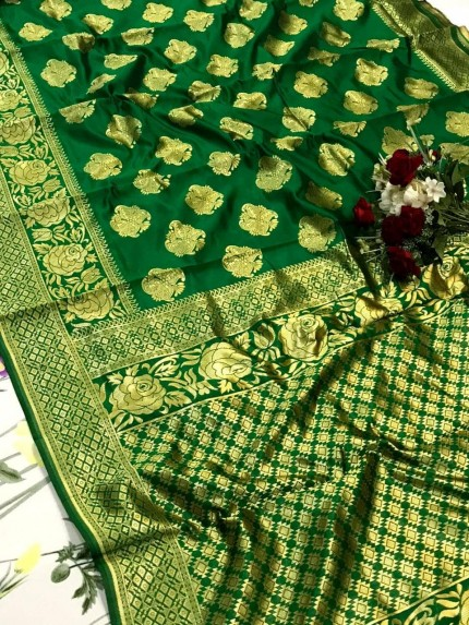 glamorous Green soft banarasi silk weaving jacquard saree