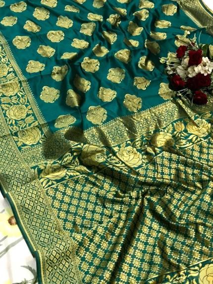 glamorous Green soft banarasi silk weaving jacquard saree