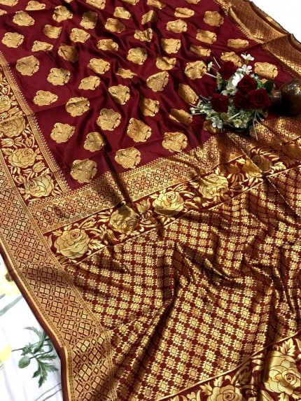 glamorous soft banarasi silk weaving saree in Maroon