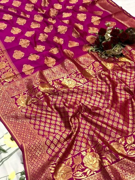 glamorous soft banarasi silk weaving saree in Pink