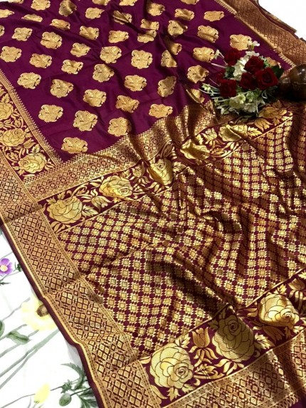 glamorous Purple soft banarasi silk weaving jacquard saree