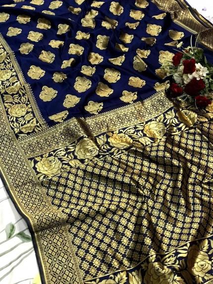glamorous soft banarasi silk weaving jacquard saree