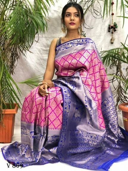 Gorgeous Banarasi Art Silk saree in Pink