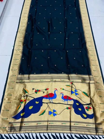 Gorgeous Black Pethani Silk Traditional Saree