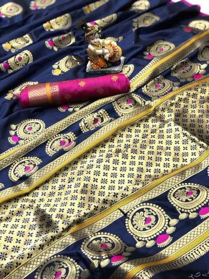 Gorgeous Blue Lichi silk saree