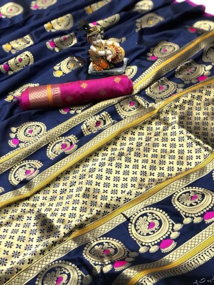 Gorgeous Blue Lichi silk saree