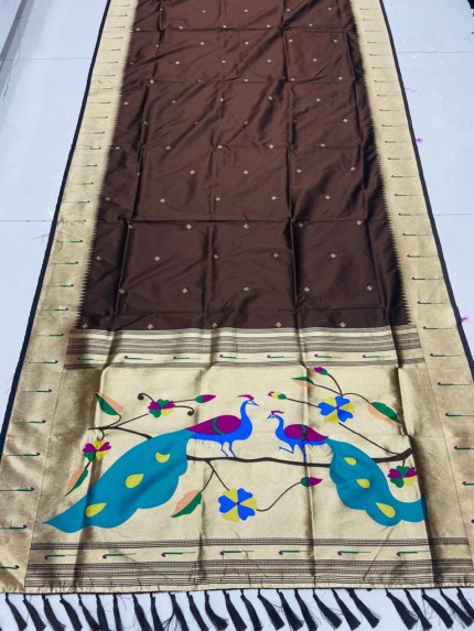 Gorgeous Brown Pethani Silk Traditional Saree
