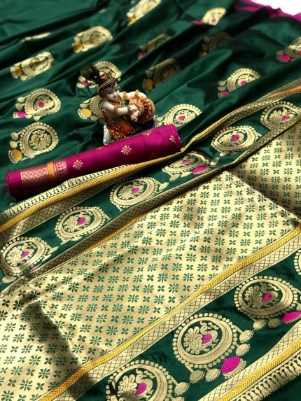 Gorgeous Green Lichi silk saree