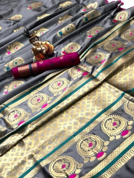Gorgeous Grey Lichi silk saree