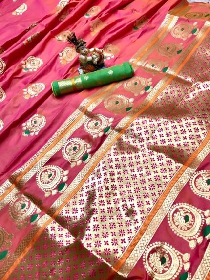Gorgeous Peach Lichi silk saree