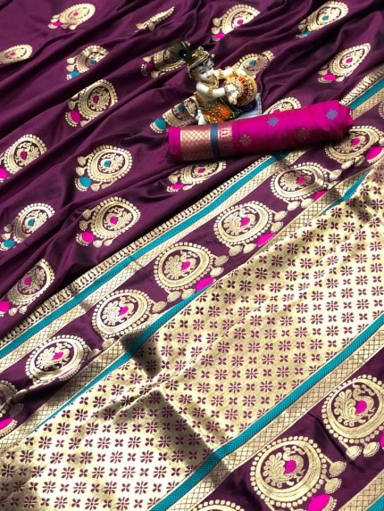 Gorgeous Purple Lichi silk saree