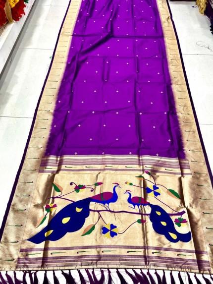 Gorgeous Purple Pethani Silk Traditional Saree