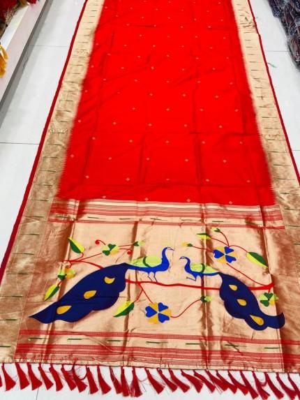 Gorgeous Red Pethani Silk Traditional Saree