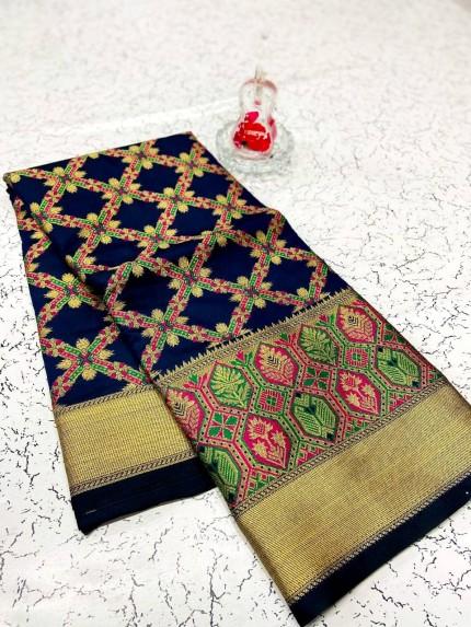 soft banarasi patola silk saree in Blue
