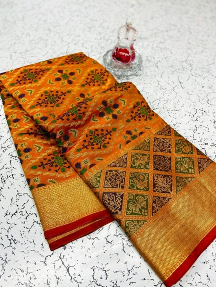 soft banarasi patola silk saree in Orange