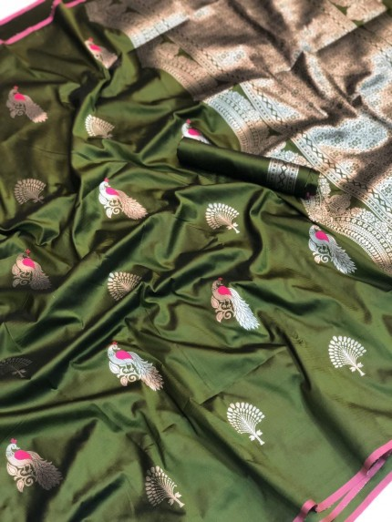 Grab and Pack Lichi Silk weaving zari silk saree in Green - silk sarees Online gnp005897