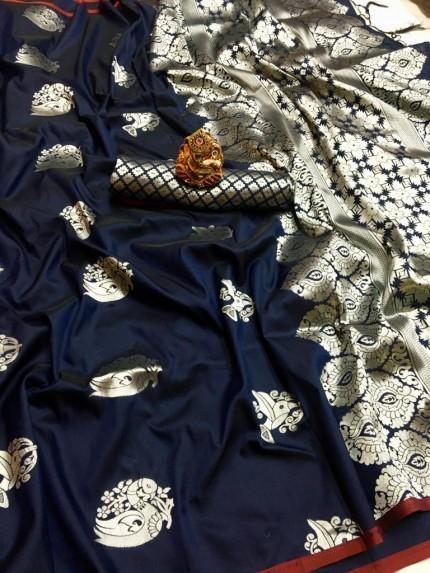 grabandpack Blue lichi silk saree with blouse piece