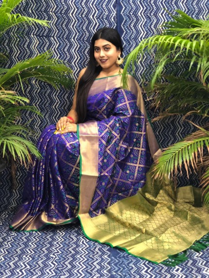 Blue Silk Blend Woven Design Patola Saree