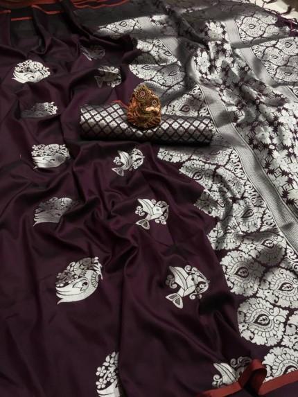 Brown lichi silk weaving jacquard saree