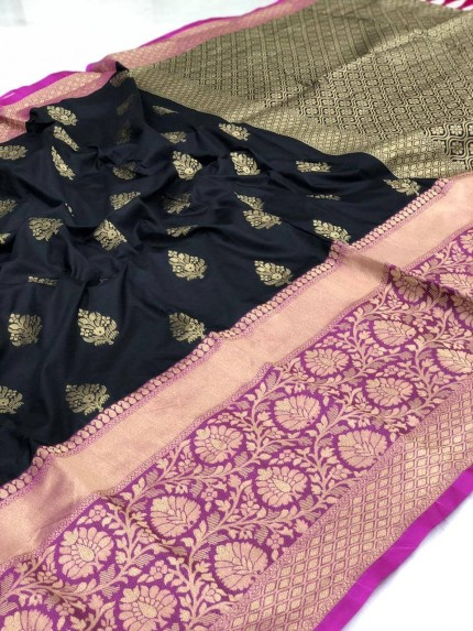 grabandpack Black Kanchipuram Saree