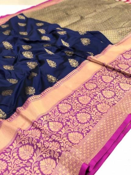 grabandpack Blue Kanchipuram Saree