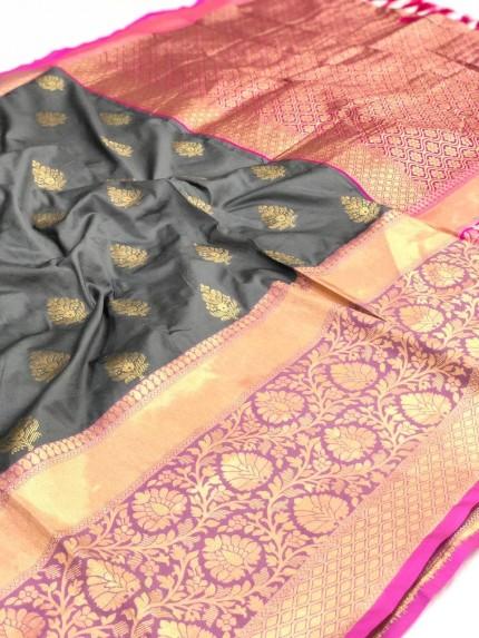 grabandpack Grey Kanchipuram Saree