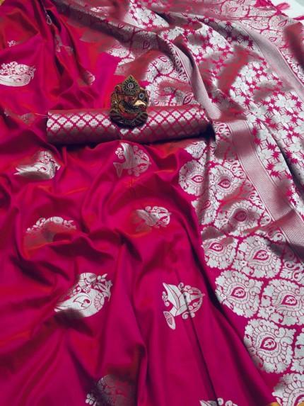 grabandpack Pink lichi silk saree with blouse piece