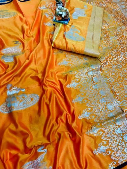 lichi silk saree with blouse piece
