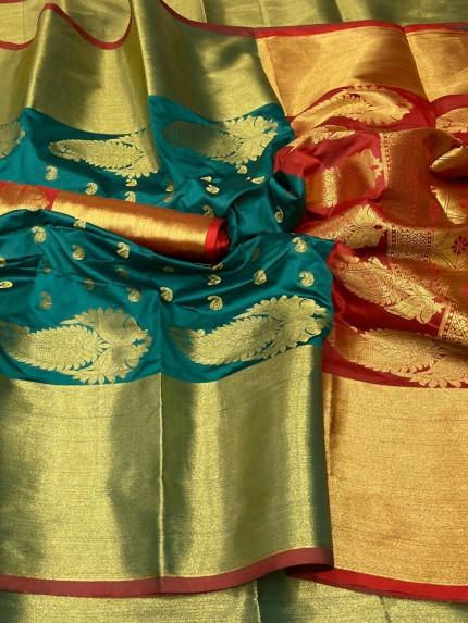 Green and Maroon Kanchipuram silk saree grabandpack