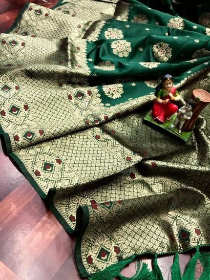 Green Attractive Soft Banarasi Silk Saree