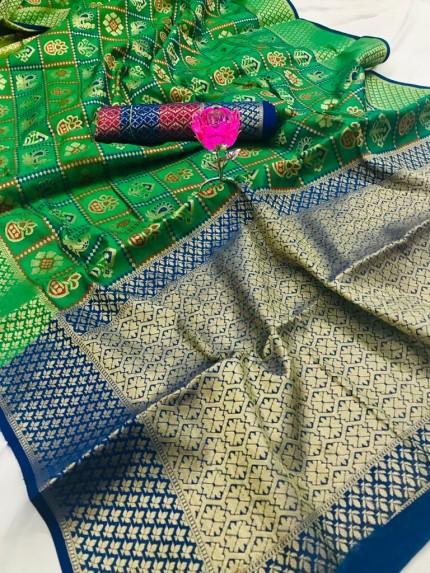 grabandpack Green Banarasi Handloom Weaving Patola Silk Saree