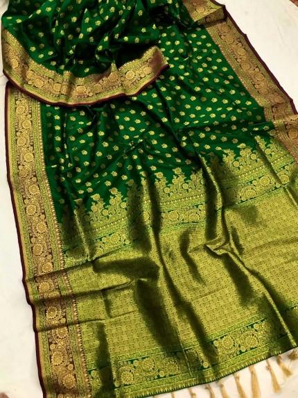 Green Banarasi silk Party wear saree