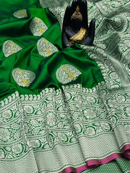Green Banarasi Silk Weaving Jacquard Saree With Rich Pallu - gnp009532