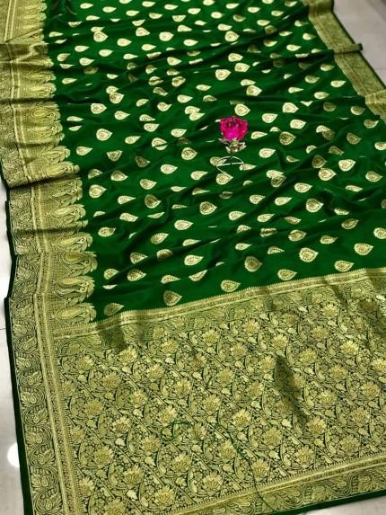 Green Banarasi Soft Silk Saree