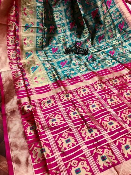 GrabandPack Green Coloured Soft silk saree