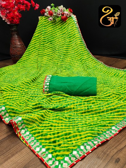Bandhani Printed Georgette Green saree at grabandpack